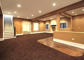 carpeting and hardwood flooring for a residential place