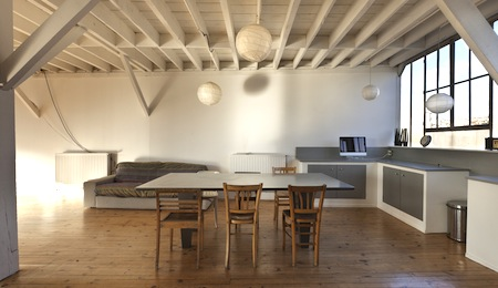wide open space, beams and wooden floor