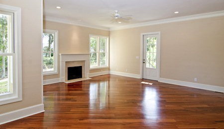 open livingroom with fireplace and wood floors