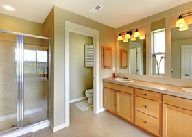 Beautiful Classic Bathroom With Double Sink And Shower.