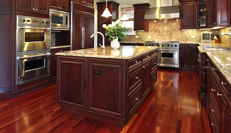 Nice hardwood flooring in the kitchen