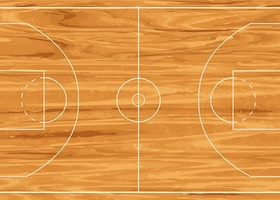 Realistic wooden basketball court. Vector illustration background
