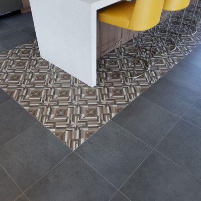 Dark Tile Floors Against Patterned Tiles